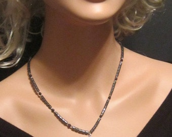 Vintage Hematite Necklace With Arrowhead Pendant