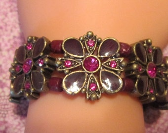 Vintage Magenta Crystal and Purple Enamel Stretch Bracelet