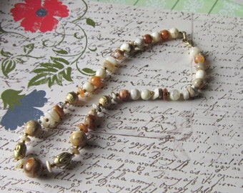 Vintage Shades of Beige Bead Necklace