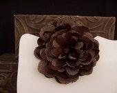Brown and White FABRIC FLOWER Herringbone Rockabilly Pin Brooch