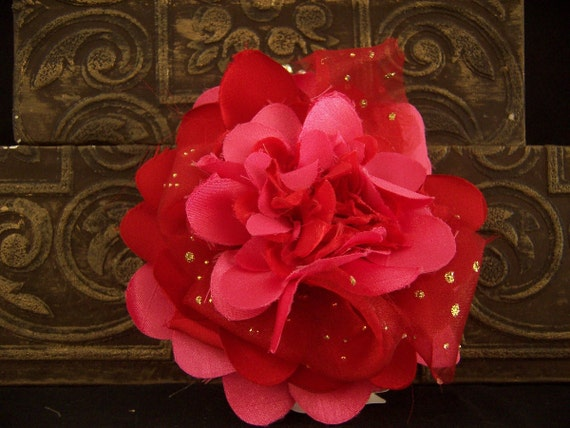 HOT Pink Rocker and RED Fabric Flower Pin, Rockabilly Bling Princess