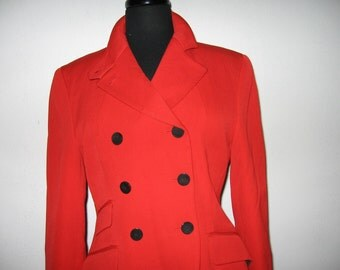 """red wool"""" riding"""" jacket by DKNY"""