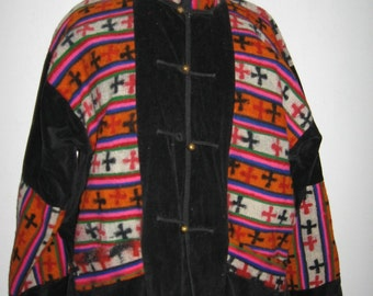 Black corduroy jacket with handwoven Peruvian design in wool.