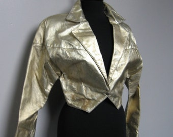 Gold cropped leather jacket