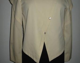 Architectural cream wool garbardine jacket by Shamask