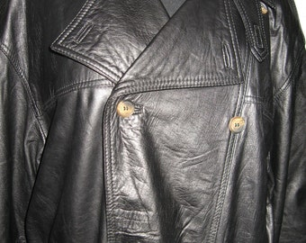 Black leather trenchcoat by Bally