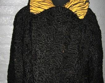Reinvented black persian lamb fur jacket from the 1940's