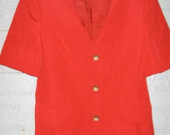Absolutely stunning red short sleeve suit by Louis Feraud