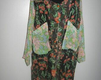 Vintage handmade transparent patchwork long chemise
