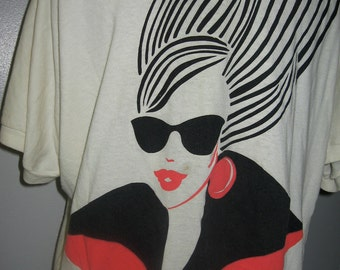 """Authentic 1980's vintage T-shirt, """"Girl with raybans"""""""