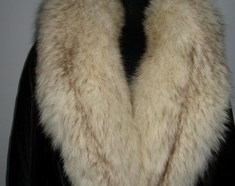 Vintage long black leather coat with fox fur collar