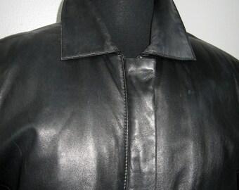 vintage three quarter black leather car coat by Nicole Miller