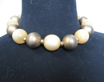 Vintage collar necklace of  brass beads and honey colored beads