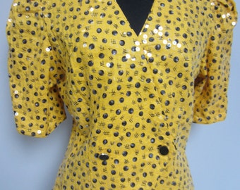 Sunflower yellow linen jacket with abstract black pattern covered with transparent sequins from the 1980's