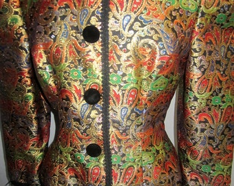 80's paisley print metallic brocade fitted jacket
