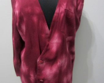 Handcrafted, hand tie-dyed deep rose and pink V neckline double breasted men's jacket