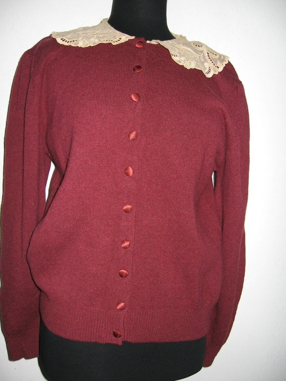 Laura Ashley wine colored wool sweater