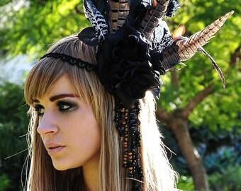 MADE TO ORDER Black Rose Goddess Headdress