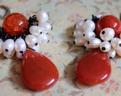 Red Agate  and Natural White Pearl Chandelier Earrings