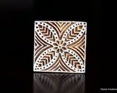 Hand Carved Indian Wood Textile Stamp Block- Geometric Floral Motif (REDUCED)