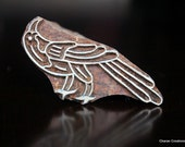 Hand Carved Indian Wood Textile Stamp Block- Crow