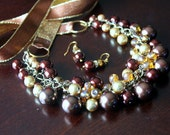 Elegant Brown Pearls and Gold Czech glass Cluster Statement Necklace with Ribbon Ties
