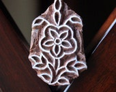 Hand Carved Indian Wood Textile Stamp Block- Flower Motif
