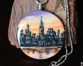 OOAK Wearable Art City at Dusk Hand Painted Wood 3D Pendant Necklace (Reduced)