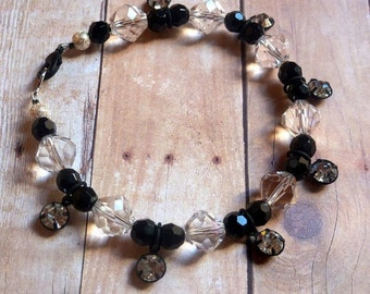 Crystal and Black Glass Beads Bracelet (Reduced)
