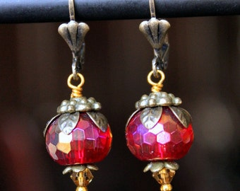 Red Faceted Czech Glass Gold Luster Antiqued Brass Earrings