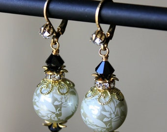 Etched Creme Pearls, Black Crystals and Gold Classic Vintage Style Earrings