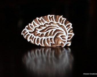 Hand Carved Indian Wood Textile Stamp Block- Leaf/Floral Motif
