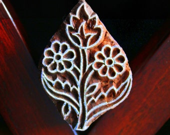 Hand Carved Indian Wood Textile Stamp Block- Flowers (ON SALE)