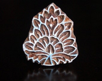 HALF PRICE SALE Hand Carved Indian Wood Textile Stamp Block- Floral Motif (Reduced)