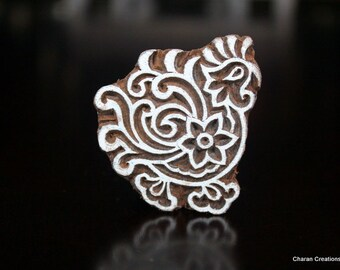 Hand Carved Stamp, Indian Wood Stamp, Textile Stamp, Pottery Stamp, Soap stamp- Stylized Rooster
