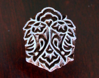 HALF PRICE SALE Hand Carved Indian Wood Textile Stamp Block- Floral Motif