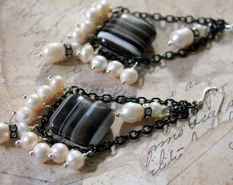 Banded Onyx and Natural Pearl Earrings  (Reduced)