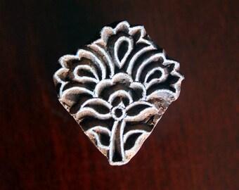 Hand Carved Indian Wood Stamp Block- Flower Motif
