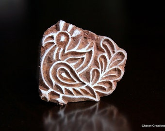 Hand Carved Indian Wood Stamp Block- Small Peacock Motif