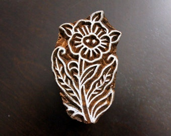 Hand Carved Indian Wood Textile Stamp Block - Flower with Leaves
