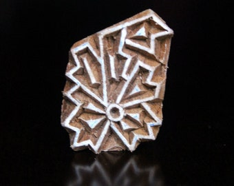 ON SALE Hand Carved Indian Wood Textile Stamp Block- Geometric Floral Motif
