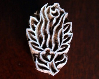 Hand Carved Indian Wood Textile Stamp Block- Rose Bud (ON SALE)