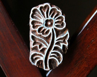 Hand Carved Indian Wood Textile Stamp Block- Anemone Flower