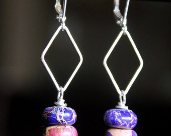 Amethyst and Royal Blue Imperial Jasper Roundels Stack Earrings