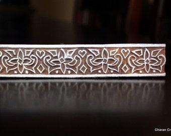 Hand Carved Floral Border Indian Wood Stamp Block (Reduced)