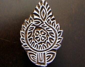 Hand Carved Indian Wood Textile Stamp Block- Floral Motif (ON SALE)