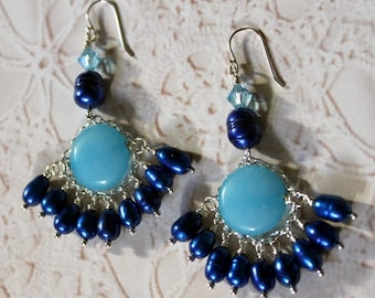 Blue Jade, Natural Pearls and Crystal Sterling Silver Earrings