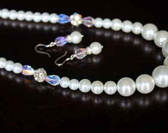 Elegant White Pearls and Swarovski AB drops Bridal Necklace Set with Crystal Ball