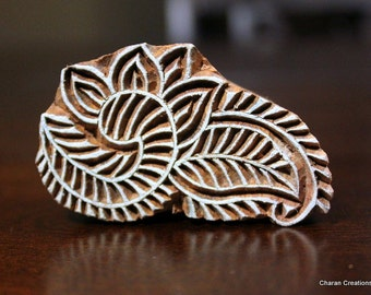 Hand Carved Indian Wood Stamp Block- Leaves/Paisley Motif (REDUCED)