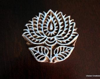 Hand Carved Indian Wood Textile Stamp Block- Lotus Flower